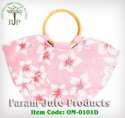 Cane Handle Floral Printed Beach Bags manufacturer