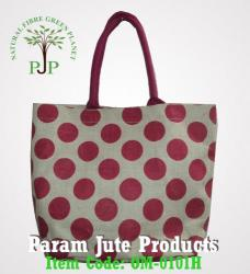 Polka Printed Jute Beach Bags supplier